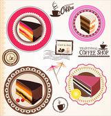 蛋糕和咖啡标签集 — 图库矢量图片