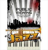 爵士乐音乐会公众查看 — 图库矢量图片