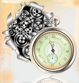 Old Watch and gears in motion — Stock Vector