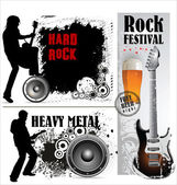 Hard and heavy metal banner set — Stock Vector