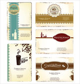 Set of 5 business cards for cafe and restaurant — Stock Vector