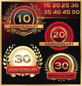 周年記念ゴールデン ラベル セット — ストックベクタ