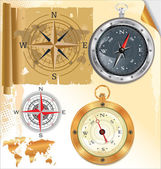 Compass rose and glossy compass, set — Stock Vector