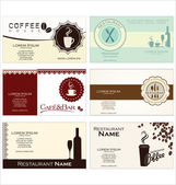 Set of 6 business cards for cafe and restaurant — Stock Vector