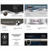 Set of 6 metallic business card templates — Stock Vector