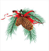Christmas design with Red Ribbon and Pine Cone — Stok Vektör