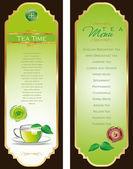 Tea menu template — Stock Vector