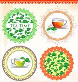 复古茶标签矢量图 — 图库矢量图片