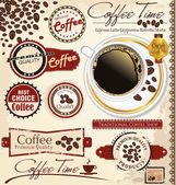 Vintage retro coffee badges and labels — Stockvektor