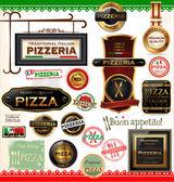 Rótulos de pizza — Vetor de Stock