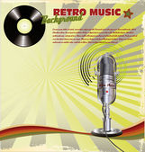 Retro music background with Microphone On Stand and vinyl — Stock Vector