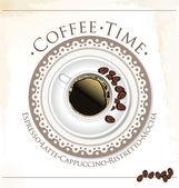 Káva čas. šálek kávy a kávových zrn — Stock vektor