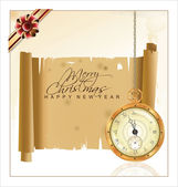 Vintage Christmas background with pocket watch and old paper — Stock Vector