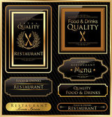 Vintage vector black gold frame restaurant label — Stock Vector