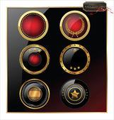 Premium kvalitet guld och svart etikett — Stockvektor