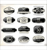 Anniversary black labels — Stock Vector
