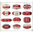 Stock Vector: Anniversary red labels