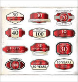 Anniversary red labels — Stock Vector
