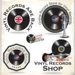 Vinyl records labels — Stock Vector
