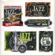 Stock Vector: Jazz music stamps and labels