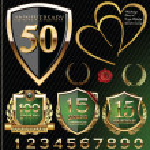 Anniversary golden labels — Stock Vector