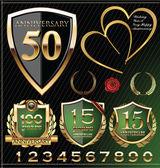 Etiquetas aniversario dorado — Vector de stock