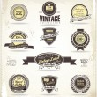 Stock Vector: Set of vintage retro premium quality labels