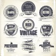 Stok Vektör: Set of vintage retro premium quality badges and labels