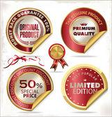 Vector premium quality golden labels — Stock Vector