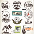 Summer vacation and travel labels  — Stock Vector