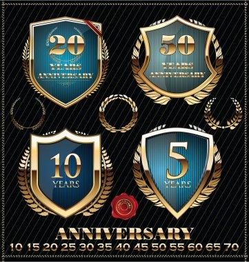 Anniversary gold and blue labels, golden laurel wreath set
