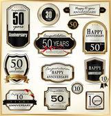 étiquette anniversaire doré — Vecteur
