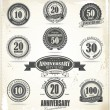 Anniversary sign collection, retro design — Imagen vectorial