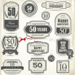 Anniversary retro badge and labels — Imagen vectorial
