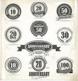 Anniversary sign collection, retro design — Stock Vector