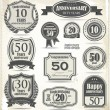 Anniversary sign collection, retro design — Stock Vector