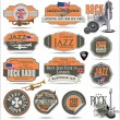 Stock Vector: Music stamps and labels