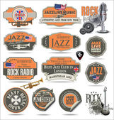 Music stamps and labels — Stock Vector