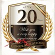 20 years anniversary golden label — Stock Vector
