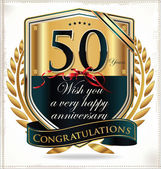 50 years anniversary golden label — 图库矢量图片
