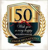 Etichetta d'oro anniversario 50 anni — Vettoriale Stock
