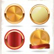 Gold and red labels — Stock Vector