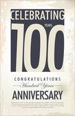 Segundo plano retrô de aniversário de 100 anos — Vetorial Stock