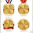 Stock Vector: Gold medal set