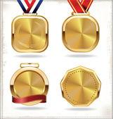 Gold medal set — Stock Vector