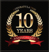 10 years anniversary golden laurel wreath — ストックベクタ