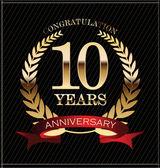 Corona di alloro dorato anniversario di 10 anni — Vettoriale Stock