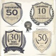 Stock Vector: Anniversary retro labels