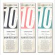 10 years Anniversary retro banner, set — Stock Vector #31214165