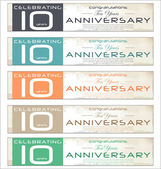 10 years Anniversary retro banner, set — Stock Vector